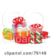 Royalty Free RF Clipart Illustration Of A Tidy Group Of Colorful Wrapped Gift Boxes With Ribbons And Bows