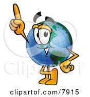 Clipart Picture Of A World Earth Globe Mascot Cartoon Character Pointing Upwards