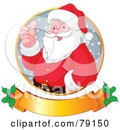 Royalty Free RF Clipart Illustration Of Santa Giving The Thumbs Up In A Circle Over A Gold Holly Banner by Pushkin