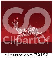 Royalty Free RF Clipart Illustration Of A Magical Starry Sparkly Reindeer Running In A Red Winter Landscape by Pushkin