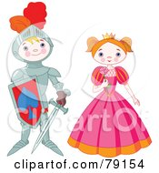 Royalty Free RF Clipart Illustration Of A Proud Knight Boy Standing By A Pretty Princess by Pushkin
