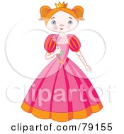 Royalty Free RF Clipart Illustration Of A Blushing Princess Girl In A Pink Dress Holding A Rose