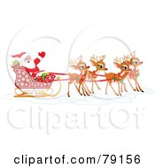 Royalty Free RF Clipart Illustration Of A Team Of Adorable Christmas Reindeer Pulling Santa In His Sleigh by Pushkin