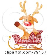 Royalty Free RF Clipart Illustration Of A Cute Rudolph The Red Nosed Reindeer Sitting In A Sleigh And Waving