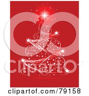 Starry Ribbon Magical Christmas Tree Over Red