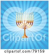 Royalty Free RF Clipart Illustration Of A Gold Hanukkah Hanukkiya Menorah On A Blue Shining Background by Pushkin