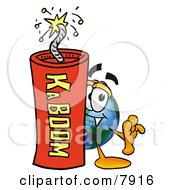 Clipart Picture Of A World Earth Globe Mascot Cartoon Character Standing With A Lit Stick Of Dynamite by Toons4Biz