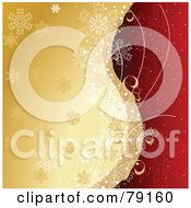 Royalty Free RF Clipart Illustration Of A Divided Gold And Red Background With Vine Tendrils And Snowflakes