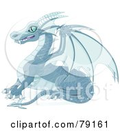 Royalty Free RF Clipart Illustration Of A Blue Ice Dragon With Sharp Wings And Teeth by Pushkin
