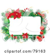 Royalty Free RF Clipart Illustration Of A Christmas Text Box Trimmed In Branches Baubles Candy Canes And Poinsettias