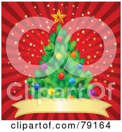 Trimmed Christmas Tree Over A Red Banner On A Red Starry Burst Background
