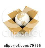 Royalty Free RF Clipart Illustration Of A 3d World Globe Resting In A Cardboard Box by Frank Boston