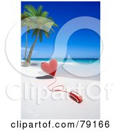 Royalty Free RF Clipart Illustration Of A 3d Computer Mouse Attached To A Red Heart On A Tropical Beach by Frank Boston