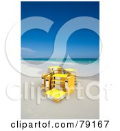 Royalty Free RF Clipart Illustration Of A Group Of Yellow 3d Ring Archive Binders On A Tropical Beach