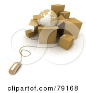 Royalty Free RF Clipart Illustration Of A 3d Computer Mouse Connected To Shipping Boxes And A Globe Version 2 by Frank Boston