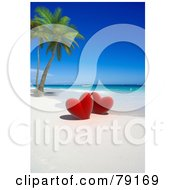 Royalty-Free (RF) Clipart Illustration of a Couple Of 3d Red Hearts Near Palm Trees On A Tropical Beach by Frank Boston