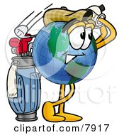 Clipart Picture Of A World Earth Globe Mascot Cartoon Character Swinging His Golf Club While Golfing
