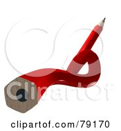 Royalty Free RF Clipart Illustration Of A 3d Twisted Red Writing Pencil