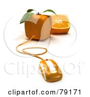 Royalty Free RF Clipart Illustration Of A 3d Whole And Halved Cubic Genetically Modified Orange Fruit With A Computer Mouse Version 1