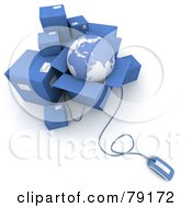 Royalty Free RF Clipart Illustration Of A 3d Computer Mouse Connected To Blue Shipping Boxes And A Globe Version 1