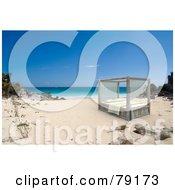 Romantic 3d Canopy Bed On A Sandy Tropical Beach