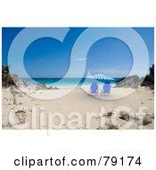 Pair Of Blue Beach Chairs Under A 3d Parasol On A Tropical Beach