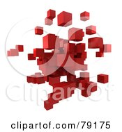 Royalty Free RF Clipart Illustration Of A 3d Red Cubic Floating Cluster Version 1