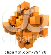 3d Orange Cubic Floating Cluster