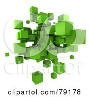 Royalty Free RF Clipart Illustration Of A 3d Green Cubic Floating Cluster