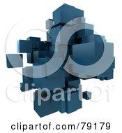 3d Teal Cubic Floating Cluster