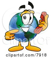 Clipart Picture Of A World Earth Globe Mascot Cartoon Character Holding A Telephone