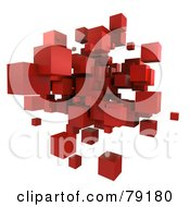 Royalty Free RF Clipart Illustration Of A 3d Red Cubic Floating Cluster Version 3