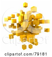 3d Yellow Cubic Floating Cluster