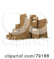 Royalty Free RF Clipart Illustration Of A 3d Wall Of Stacked Cardboard Boxes