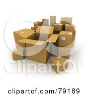 Royalty Free RF Clipart Illustration Of A Group Of Opened And Sealed 3d Cardboard Shipping Boxes Version 3