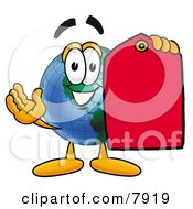 World Earth Globe Mascot Cartoon Character Holding A Red Sales Price Tag