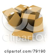 Royalty Free RF Clipart Illustration Of A Group Of Opened And Sealed 3d Cardboard Shipping Boxes Version 2