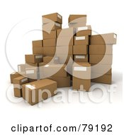 Royalty Free RF Clipart Illustration Of A Group Of 3d Packed Parcel Shipping Boxes Version 3