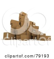 Royalty Free RF Clipart Illustration Of A Group Of 3d Packed Parcel Shipping Boxes Version 2