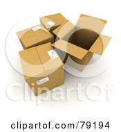 Royalty Free RF Clipart Illustration Of A Group Of Opened And Sealed 3d Cardboard Shipping Boxes Version 1
