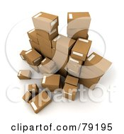 Royalty Free RF Clipart Illustration Of A Group Of 3d Packed Parcel Shipping Boxes Version 1