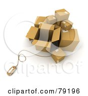 Royalty Free RF Clipart Illustration Of A 3d Computer Mouse And Cardboard Parcel Boxes Version 2