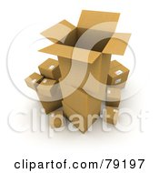 Royalty Free RF Clipart Illustration Of A Stack Of 3d Cardboard Parcel Boxes Being Prepared For Shipping