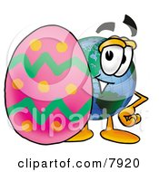 Clipart Picture Of A World Earth Globe Mascot Cartoon Character Standing Beside An Easter Egg