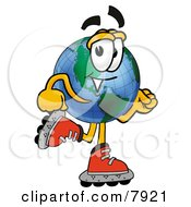 Clipart Picture Of A World Earth Globe Mascot Cartoon Character Roller Blading On Inline Skates by Toons4Biz