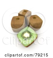 3d Half Cubic Genetically Modified Kiwi By Whole Fruits