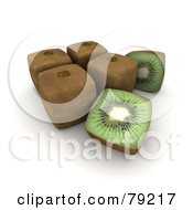 Royalty Free RF Clipart Illustration Of 3d Halved Cubic Genetically Modified Kiwis By Whole Fruits