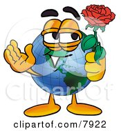 Clipart Picture Of A World Earth Globe Mascot Cartoon Character Holding A Red Rose On Valentines Day