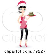 Royalty Free RF Clipart Illustration Of A Black Haired Christmas Woman Wearing A Santa Hat And A Serving A Holiday Cake