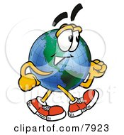 Clipart Picture Of A World Earth Globe Mascot Cartoon Character Speed Walking